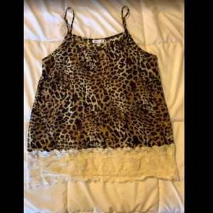Cheetah Tanktop with Lace Detail